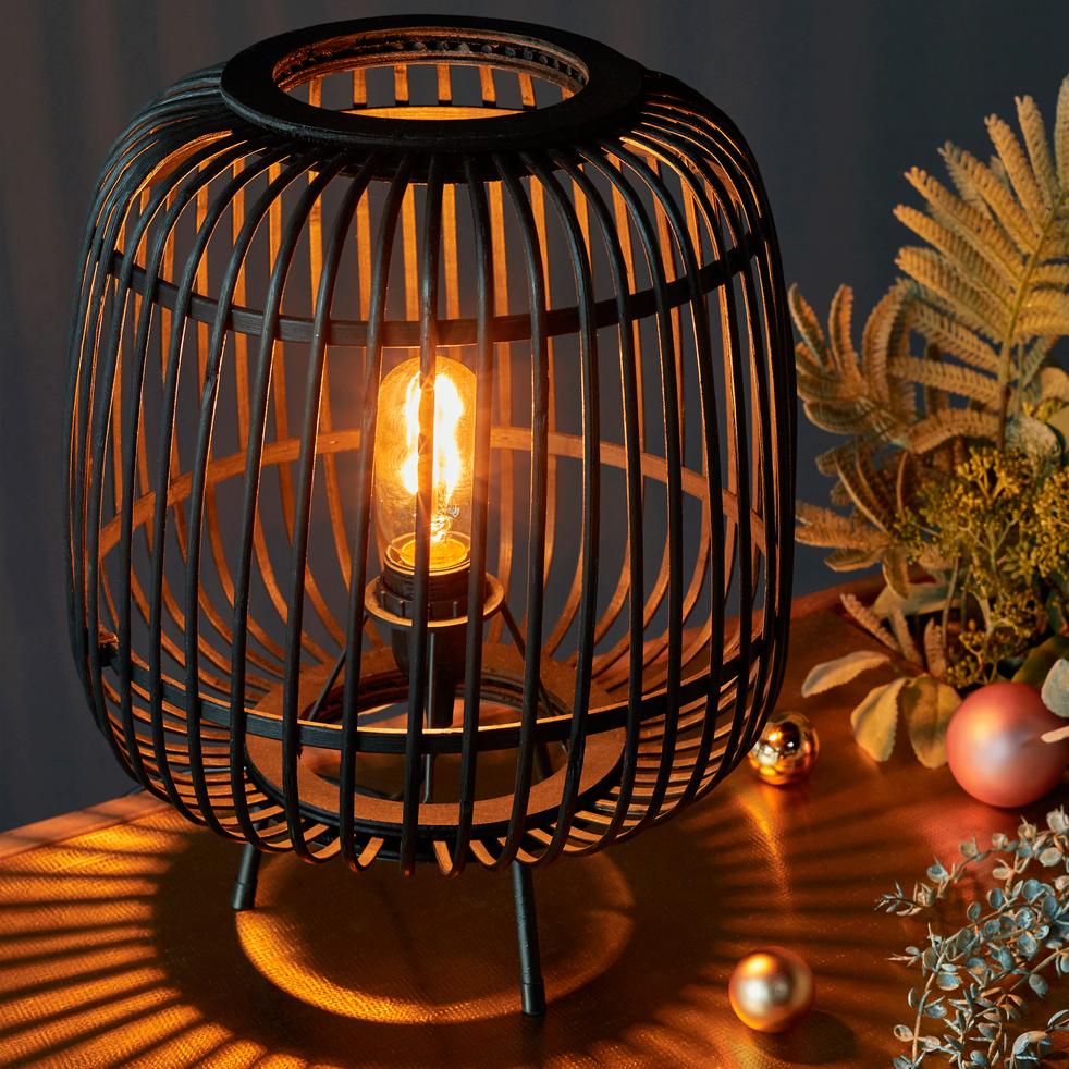 Lampe en bambou noir H37xD29cm-NIMES