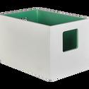 Caisse de rangement blanche intérieur vert 30x20xH20cm-Pilates