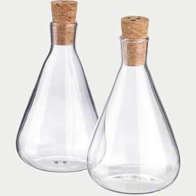 Lot de 2 contenants en verre 35ml - transparent-OLI