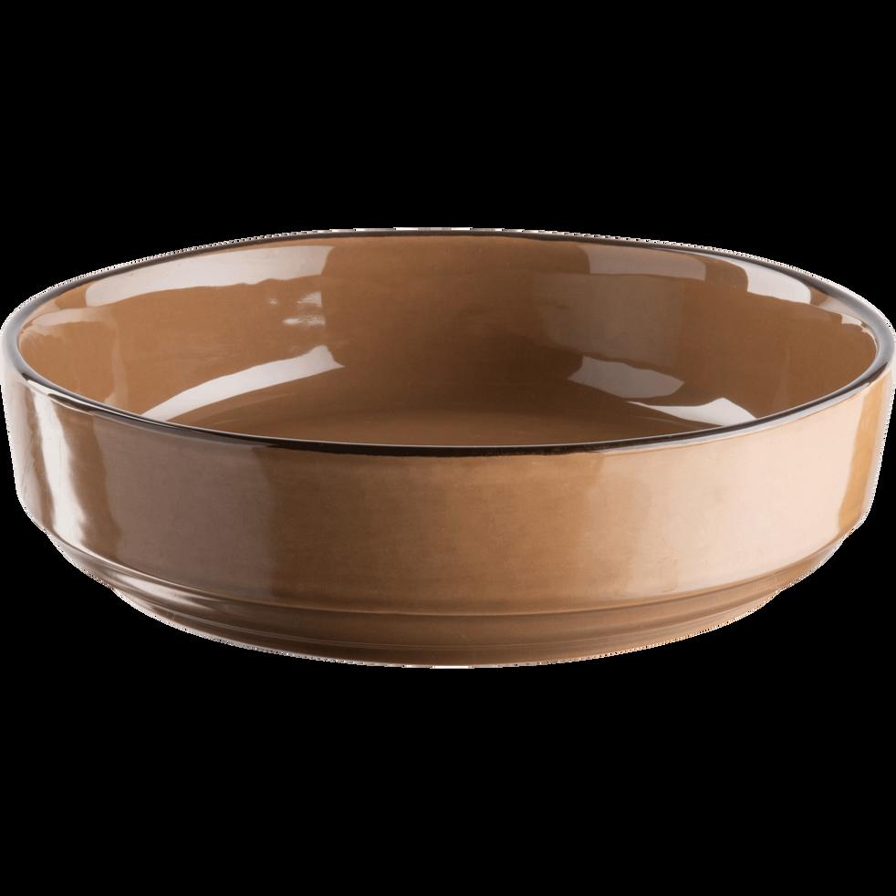 Saladier en faïence brun albe D24cm-LANKA