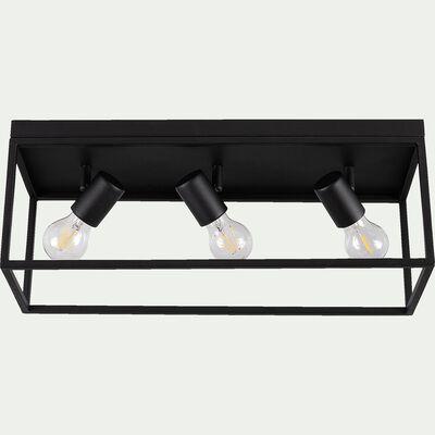 Plafonnier en acier L54xl18xH20,5cm - noir-SILENTINA