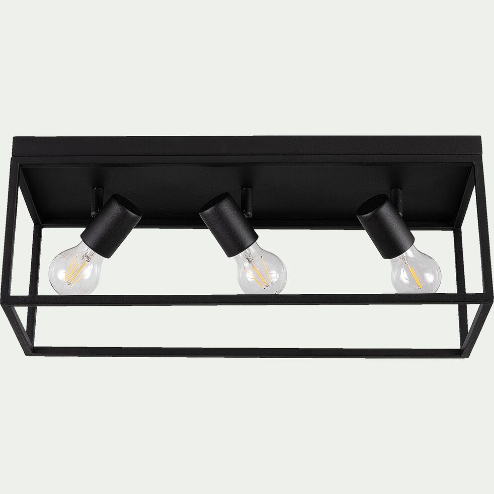 Plafonnier en acier - L54xl18xH20,5cm noir-SILENTINA