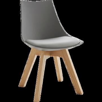 Chaise grise avec piètement en bois-JOY