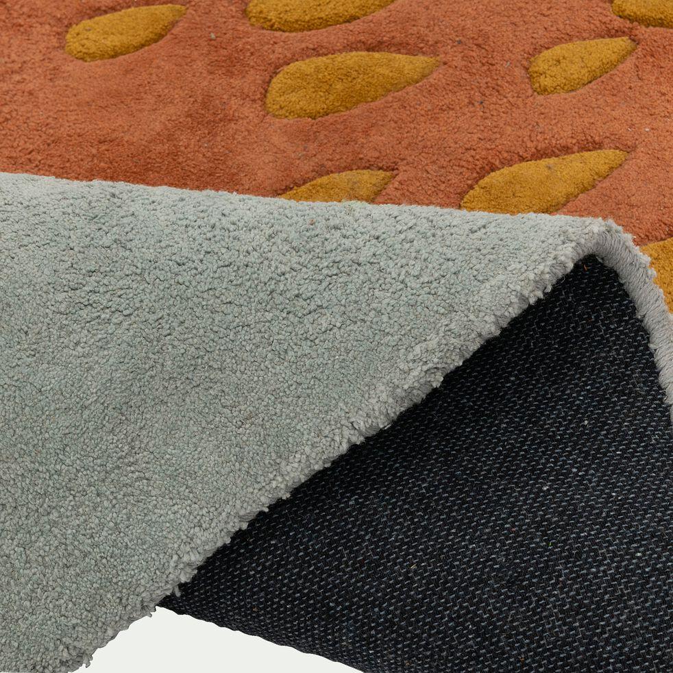 Tapis enfant tufté main forme gland - marron et gris 75x118cm-Nivou
