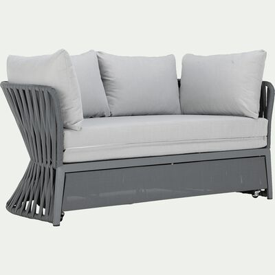 Canapé de jardin modulable en lit - gris (2 places)-RONDA