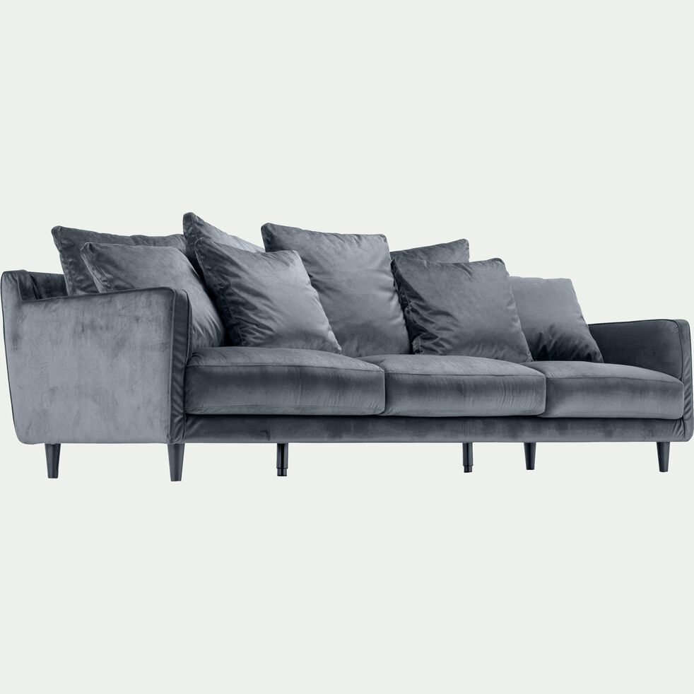 Canapé 6 places fixe en velours - gris restanque-LENITA