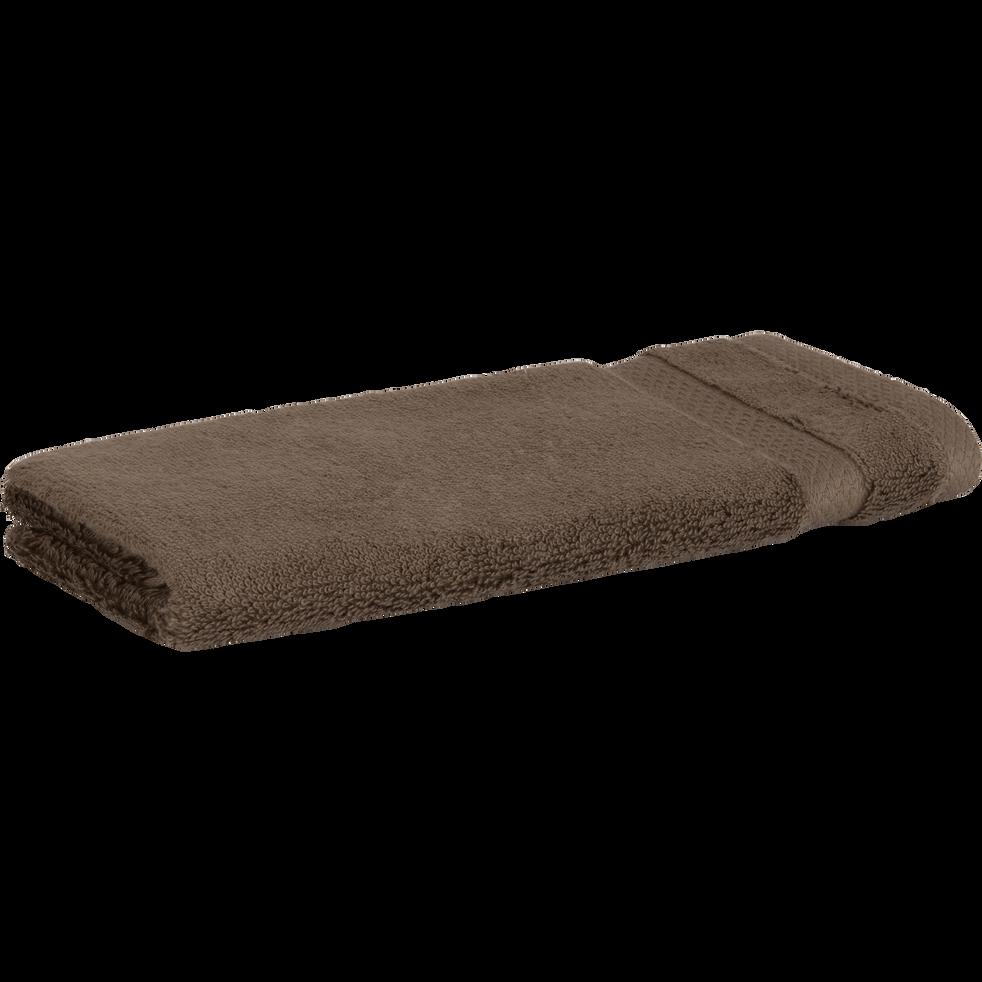 Serviette invité en coton 30x50cm brun châtaignier-AZUR