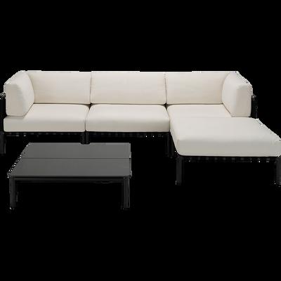 salon de jardin 5 pièces en aluminium blanc écru-ALEX