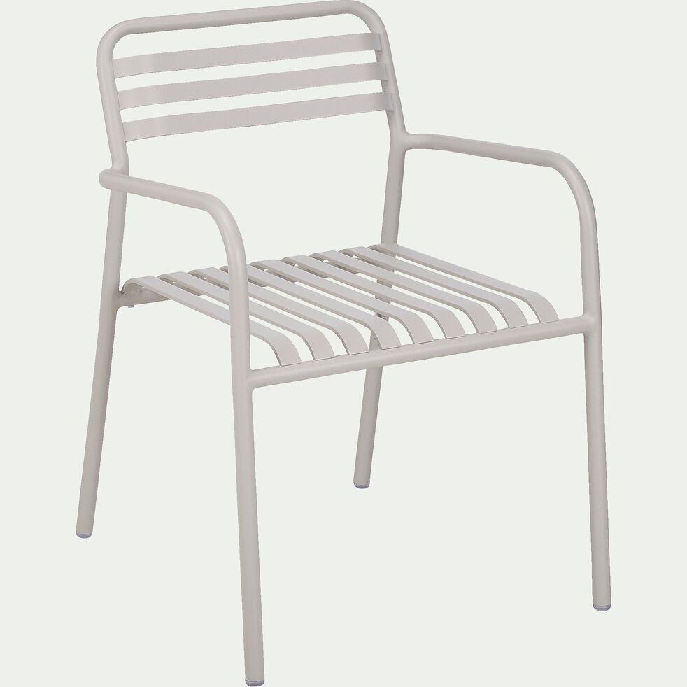 Chaise de jardin en aluminium avec accoudoirs gris restanque-VITOR