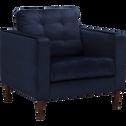Fauteuil en tissu velours bleu myrte-ROMEO