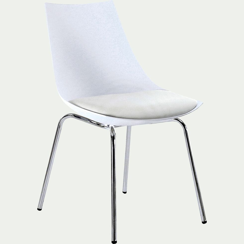 Chaise blanche avec piètement métal chromé-JOY