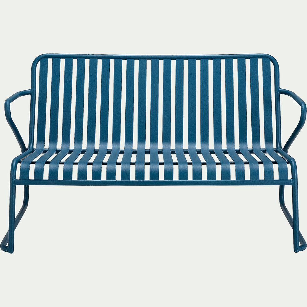 Canapé de jardin en aluminium - bleu figuerolles (2 places)-Doume