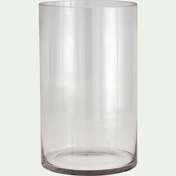 Vase tube en verre - transparent H30cm-SABBIA