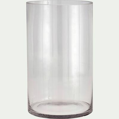Vase tube en verre épais - transparent H30cm-SABBIA