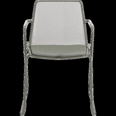 Chaise de jardin en acier vert cèdre-ALEXIA