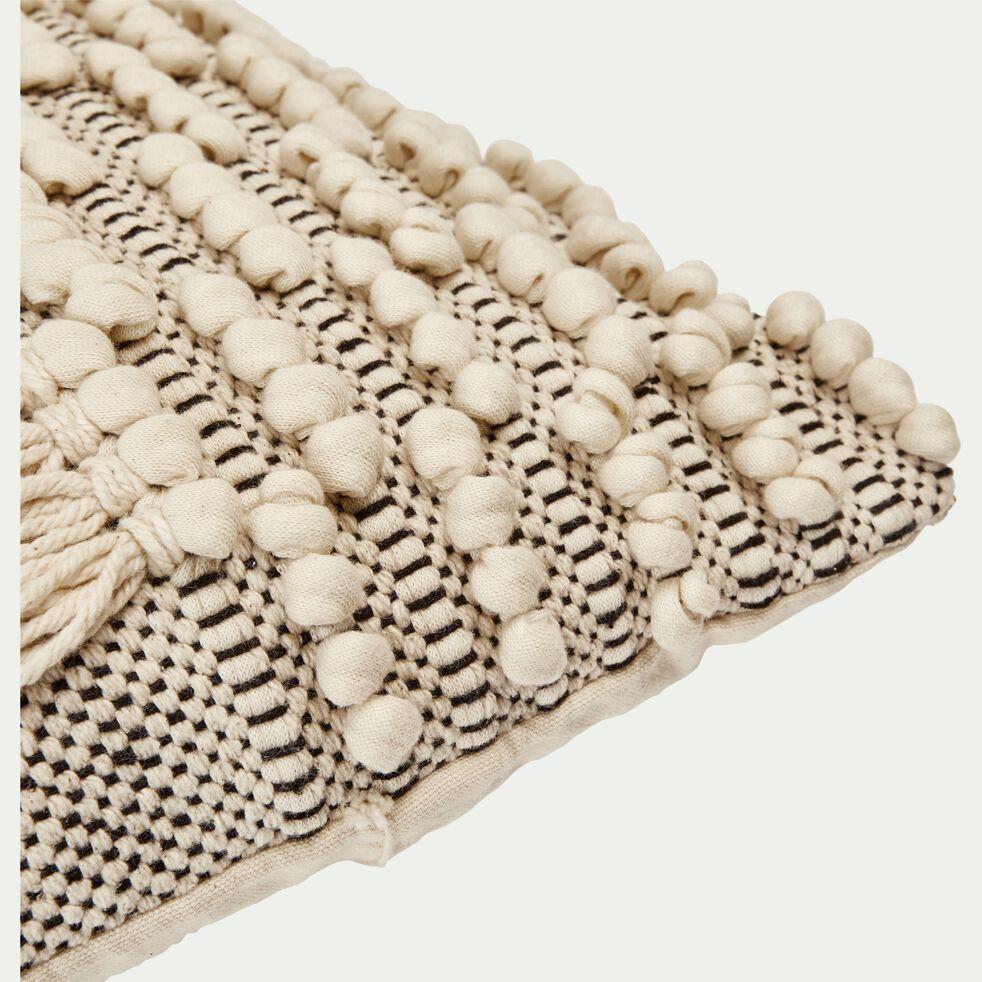 Coussin macramé en coton - blanc et noir 45x45cm-TEYSSIR
