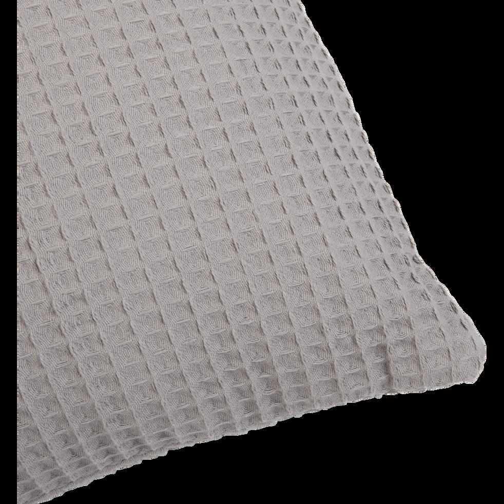 Coussin en coton gaufré gris restanque 45x45cm-GOYA