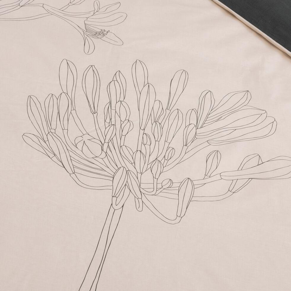 Lot de 2 taies d'oreiller en coton imprimé Agapanthe - gris borie 63x63cm-ASTI