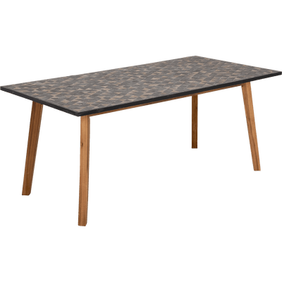 Table de jardin en acacia et pierre (6 places)-QARI