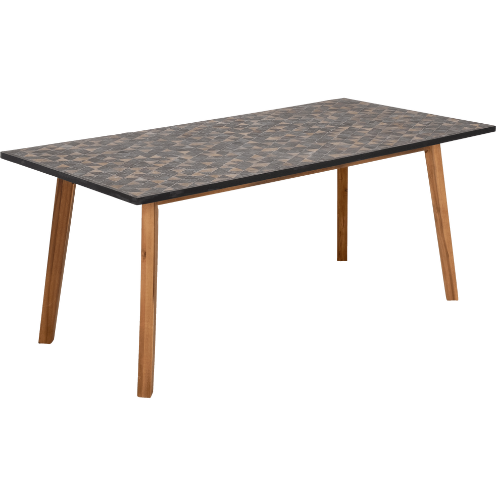 table de jardin en acacia et pierre 6 places qari. Black Bedroom Furniture Sets. Home Design Ideas