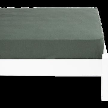 Drap housse en lin lavé vert cèdre 90x140cm-VENCE