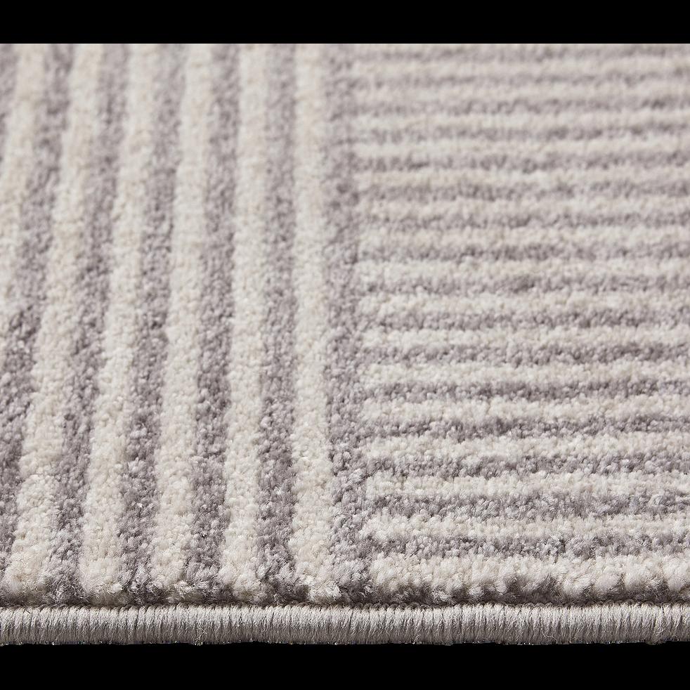 Tapis à motif géométrique - gris et blanc 160x230cm-flore