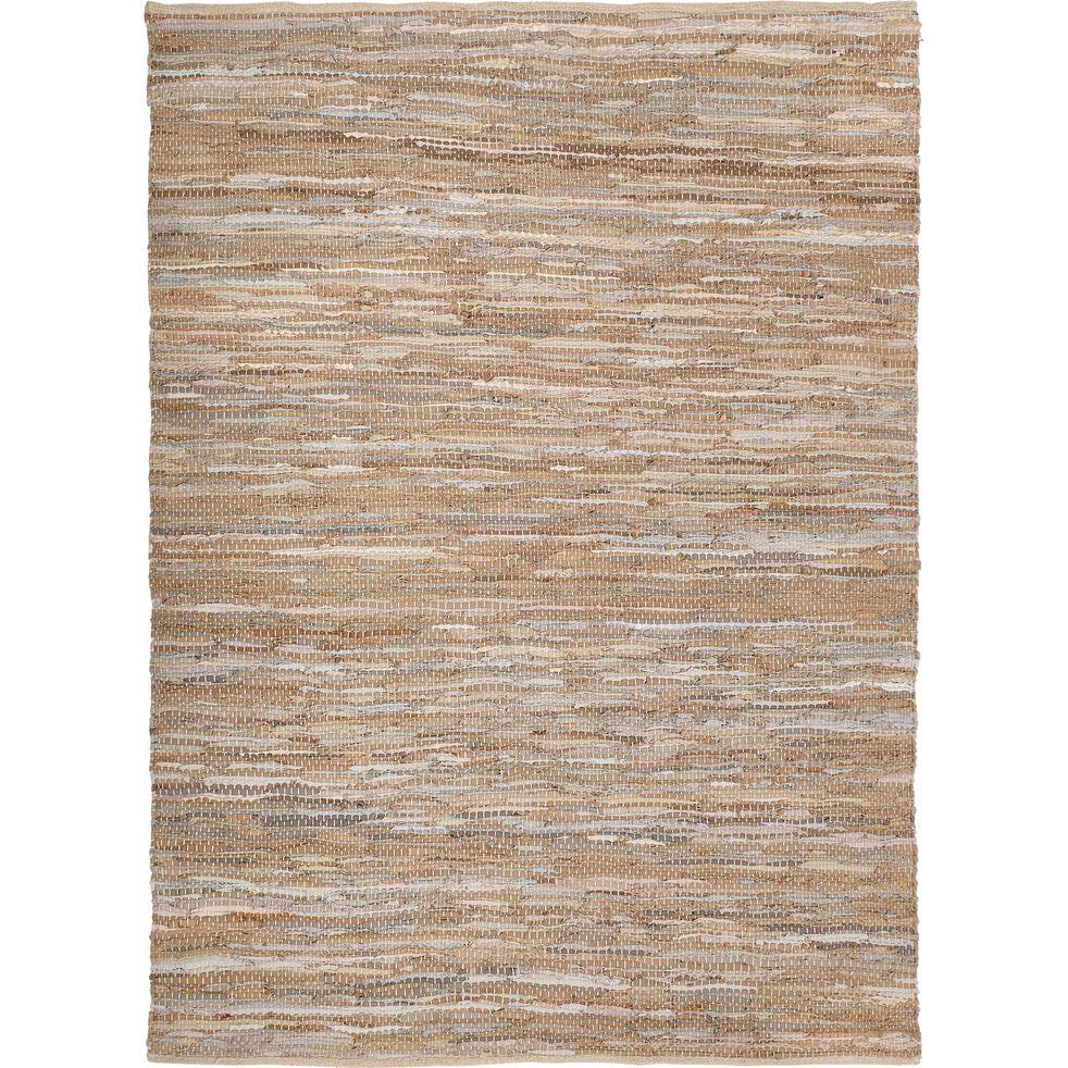 marielle tapis tresse en cuir et coton marron 150x200cm