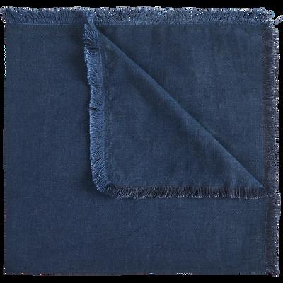 Serviette de table en lin et coton bleu myrte 41x41cm-CASTILLON