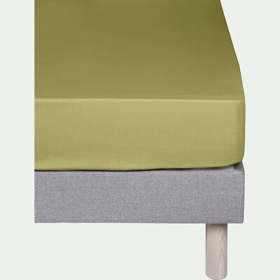Drap housse en coton Vert guarrigue 90x200cm -bonnet 25cm-CALANQUES