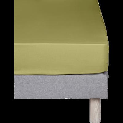 Drap housse en coton Vert guarrigue 90x200cm -bonnet 25cm-CALANQUES