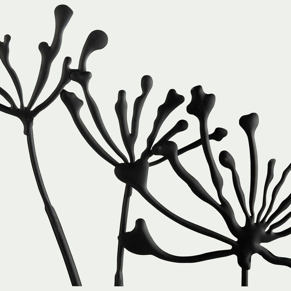 Décoration murale fleur de pissenlit en métal - noir 38x55,5cm-AVI