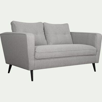 Canapé fixe 2 places en tissu gris-BARTHOLE