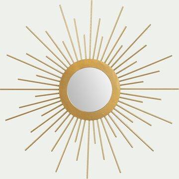 Miroir soleil en métal - doré D31cm-ELIO