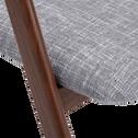 Chaise en tissu gris clair piètement bois foncé-GONZAGUE