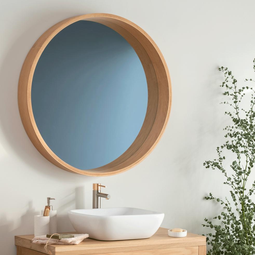 Miroir rond de salle de bain D80cm en chêne massif-NATIVE