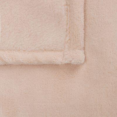 Plaid polaire 100x100 cm - Rose grège-AMELIE