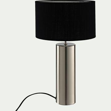 Lampe en acier argenté - noir H41cm-AGATHA