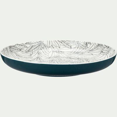 Assiette plate en porcelaine à motifs laurier - bleu figuerolles D26,8cm-AIX