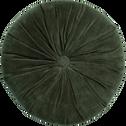 Coussin rond en velours vert D35cm-PRECIEUX