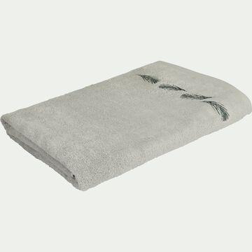 Drap de bain brodé en coton bouclette - gris borie 100x150cm-AMBIN