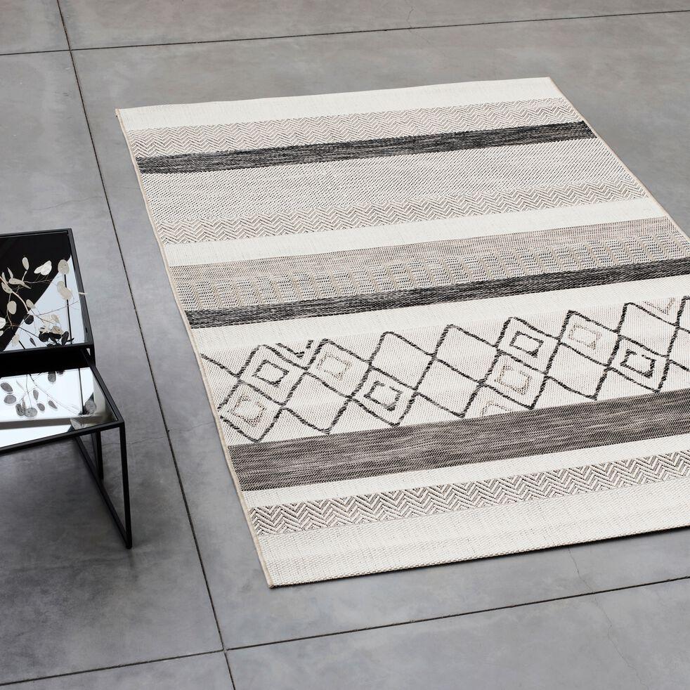 Tapis rayé intérieur et extérieur - gris 120x170cm-EUPHORIE