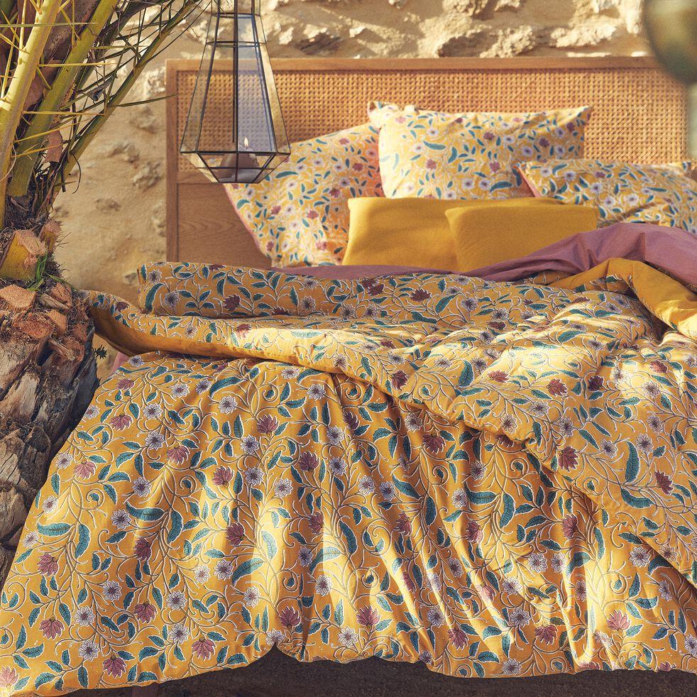 Housse de couette et 2 taies d'oreiller en coton motif floral - jaune 240x220cm-SARI