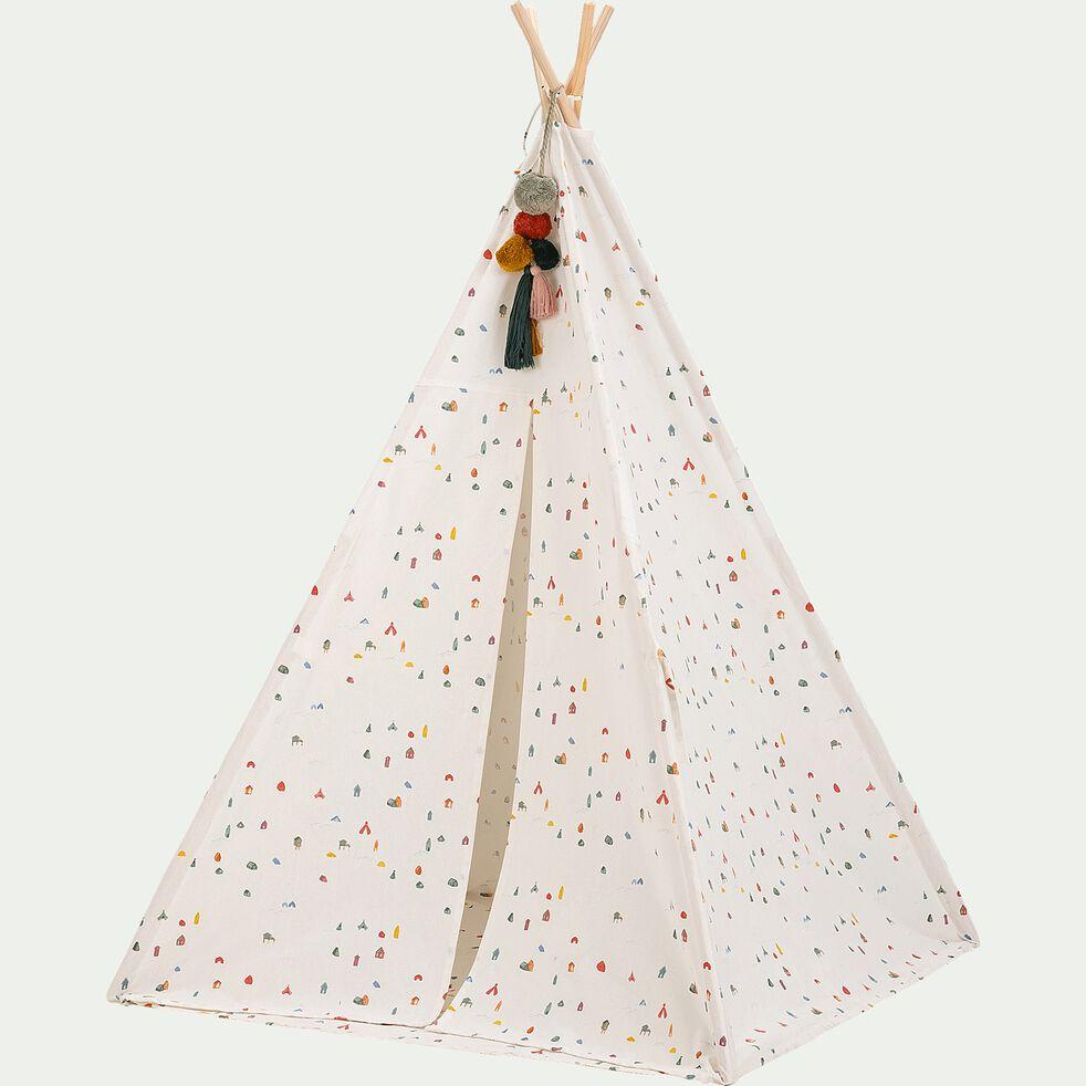 Tipi enfant motifs cabanes - blanc-Rochelle