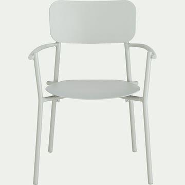 Chaise de jardin avec accoudoirs en aluminium - vert olivier-Matias