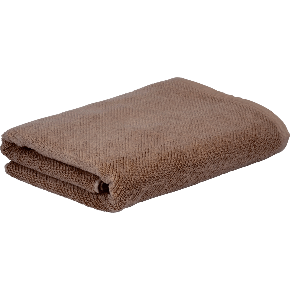 Drap de douche brun châtaignier 70x130cm-COLINE