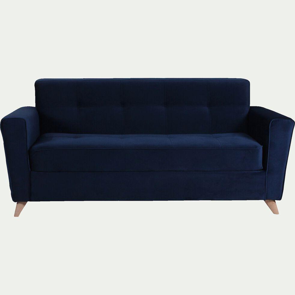Canapé 3 places fixe en velours - bleu-VICKY