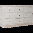 Commode 7 tiroirs en pin brossé blanchi-JALOUSIE