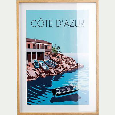 Image encadrée paysage côte d'Azur 53x73cm - bleu-HOLON