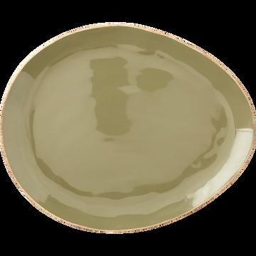 Assiette en manguier vert olivier 34x28cm-MANGUI