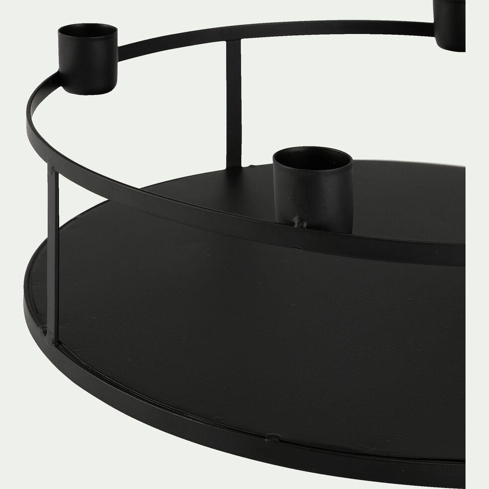 Photophore pour 4 bougies flambeaux en métal - noir D28xH10cm-LESIA